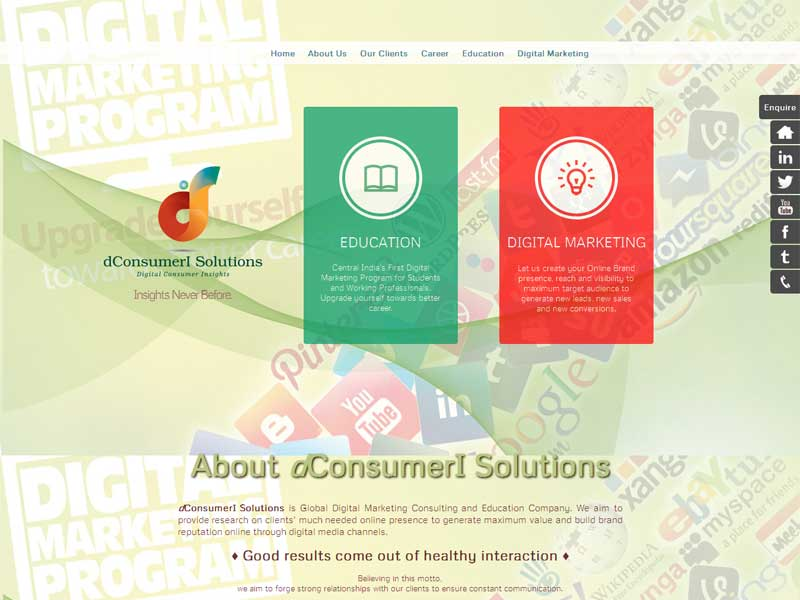 is Global Digital Marketing Company in Nagpur. A blend of Digital marketing Consulting and Education that we use to bring into service...&nbsp;<a href='http://dconsumeri.com/' target='_blank'>Read more..</a>