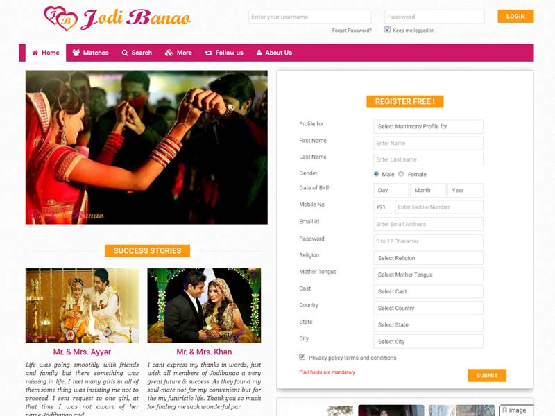 Jodibanao is an Indian Matrimonial matchmaking service that is highly committed to providing a matrimonial portal to all Indian Brides & Grooms.&nbsp;<a href='http://jodibanao.com/' target='_blank'>Read more..</a>